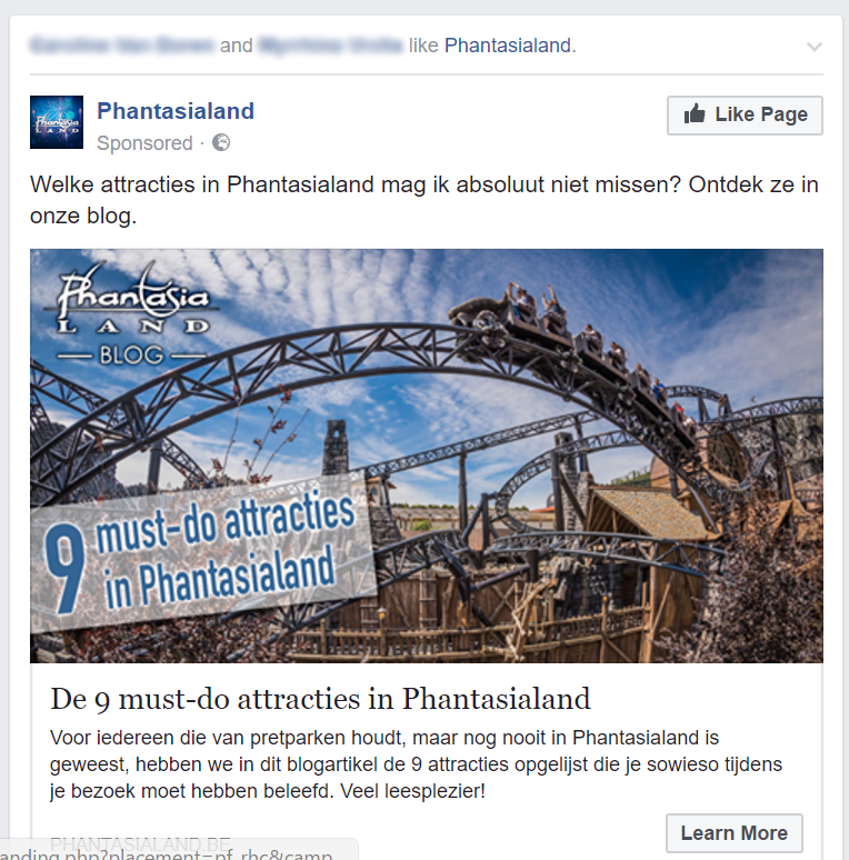 Facebook-advertentie van Phantasialand